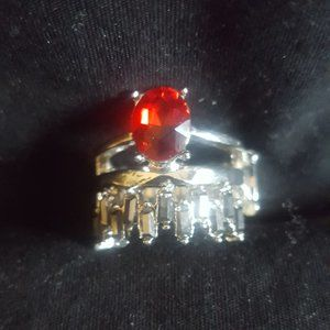 Silver and Red Ring J-480